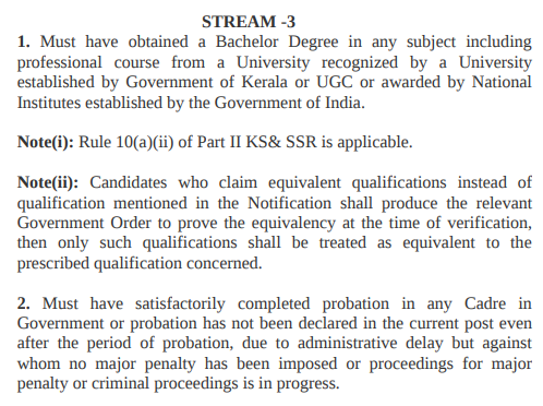 Kerala PSC KAS Eligibility - Academic Qualification - Stream-3 Post