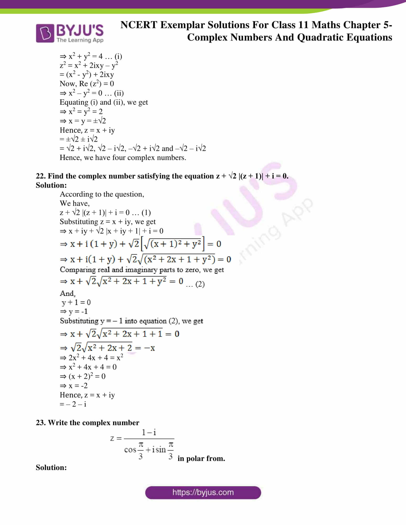 ncert exemplar solutions for class 11 maths chapter 5