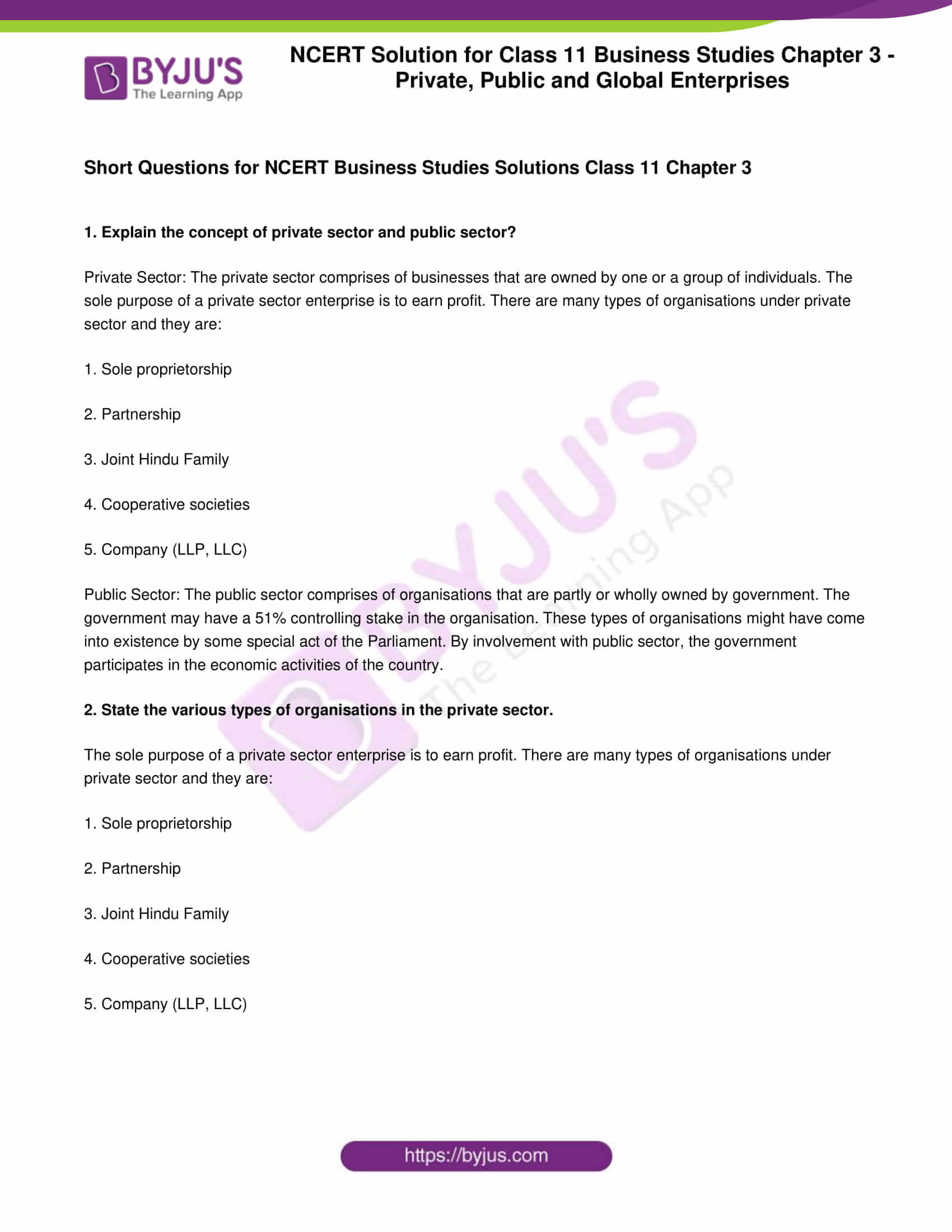 CBSE Class 11 Business Studies Syllabus 2020-21