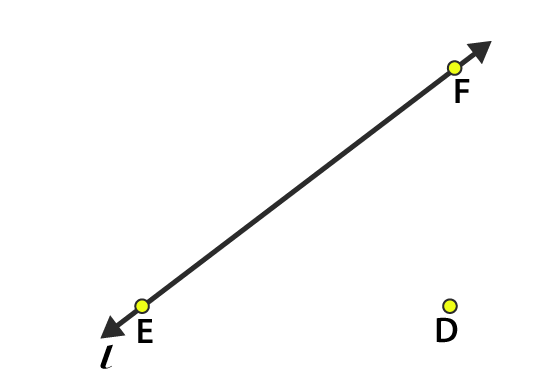 Line l Contains E and F but not D