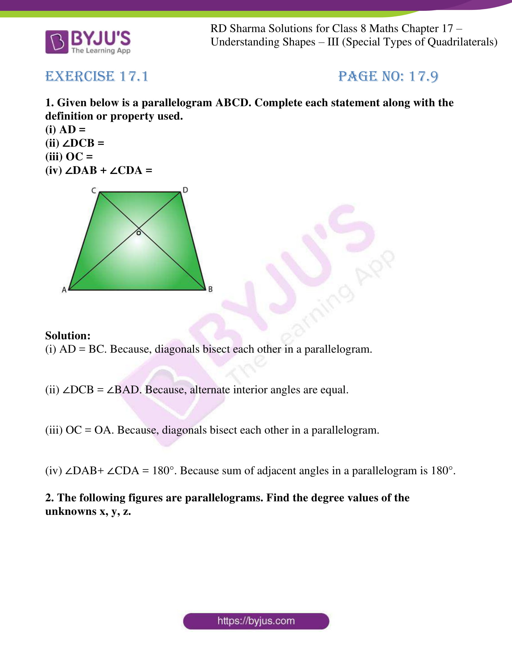rd sharma class 8 maths chapter 17 exercise 1