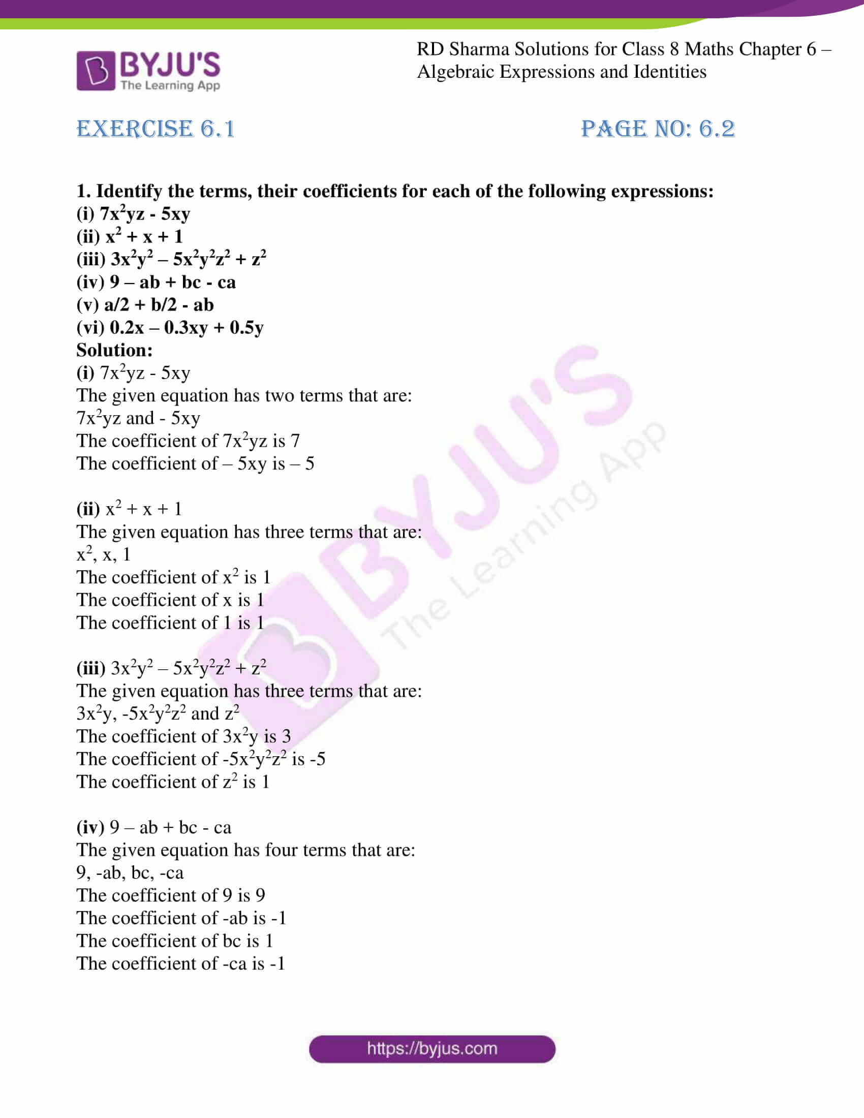 rd sharma class 8 maths chapter 6
