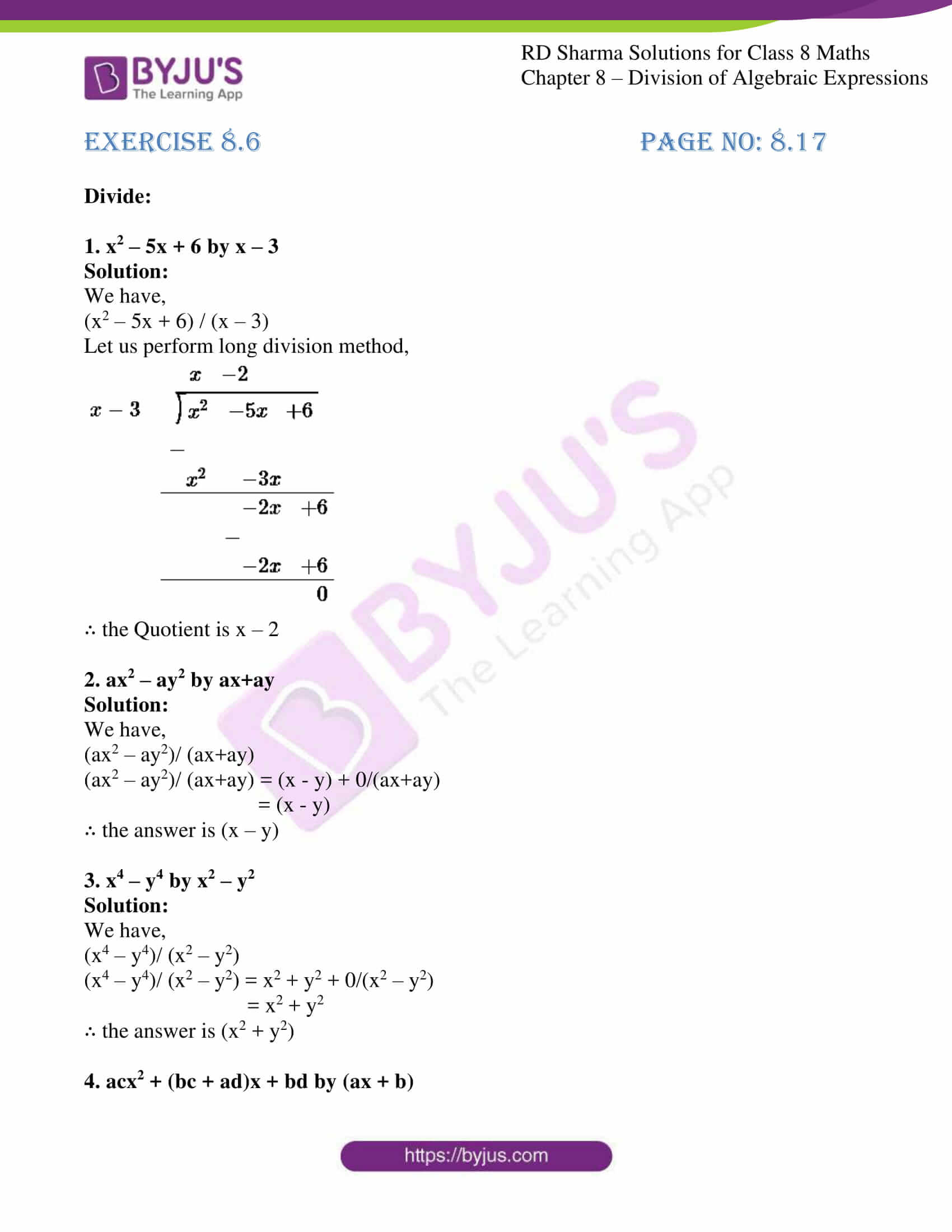 rd sharma class 8 maths chapter 8