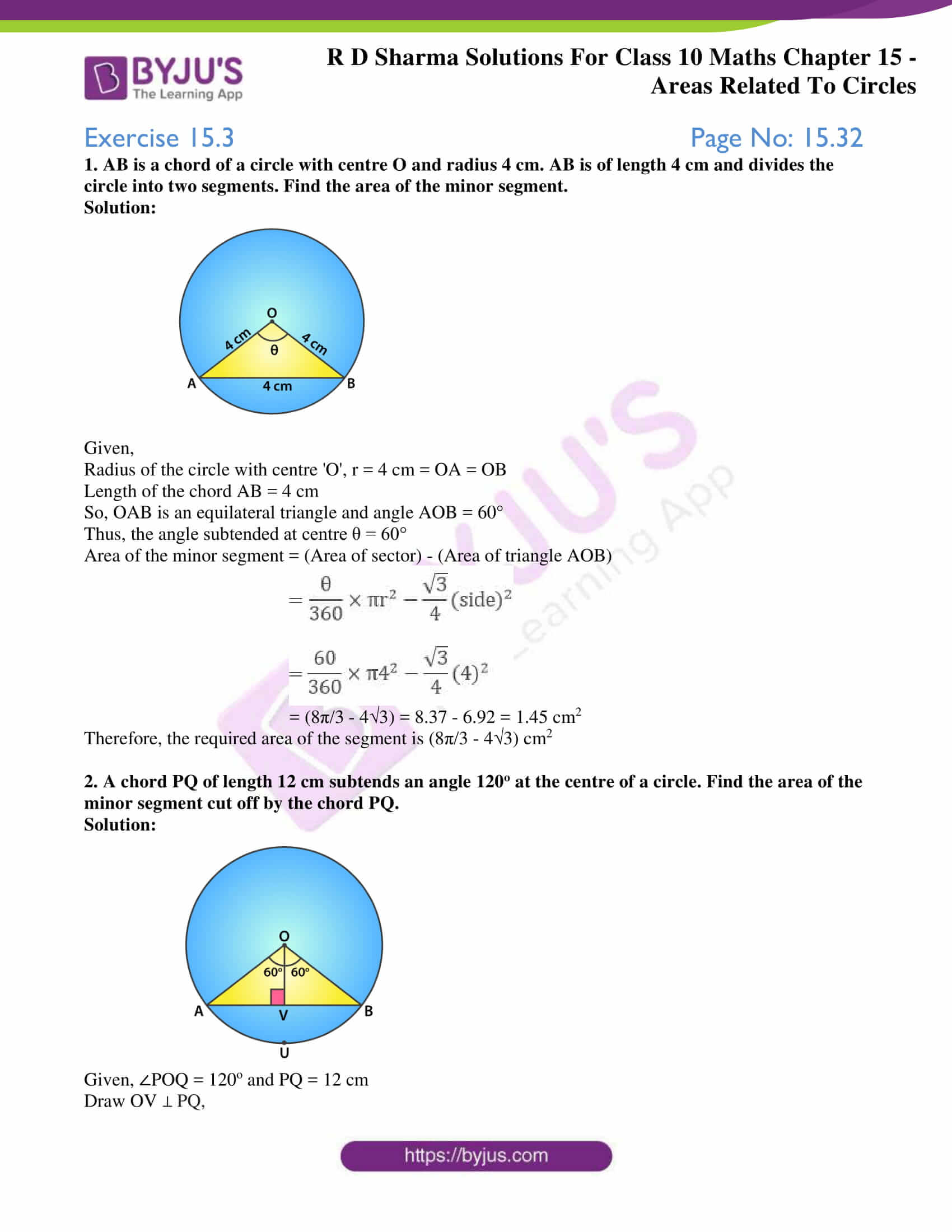 rd sharma solutions class 10 chapter 15 exercise 3