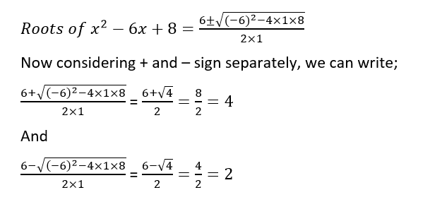 Roots of quadratic equations example