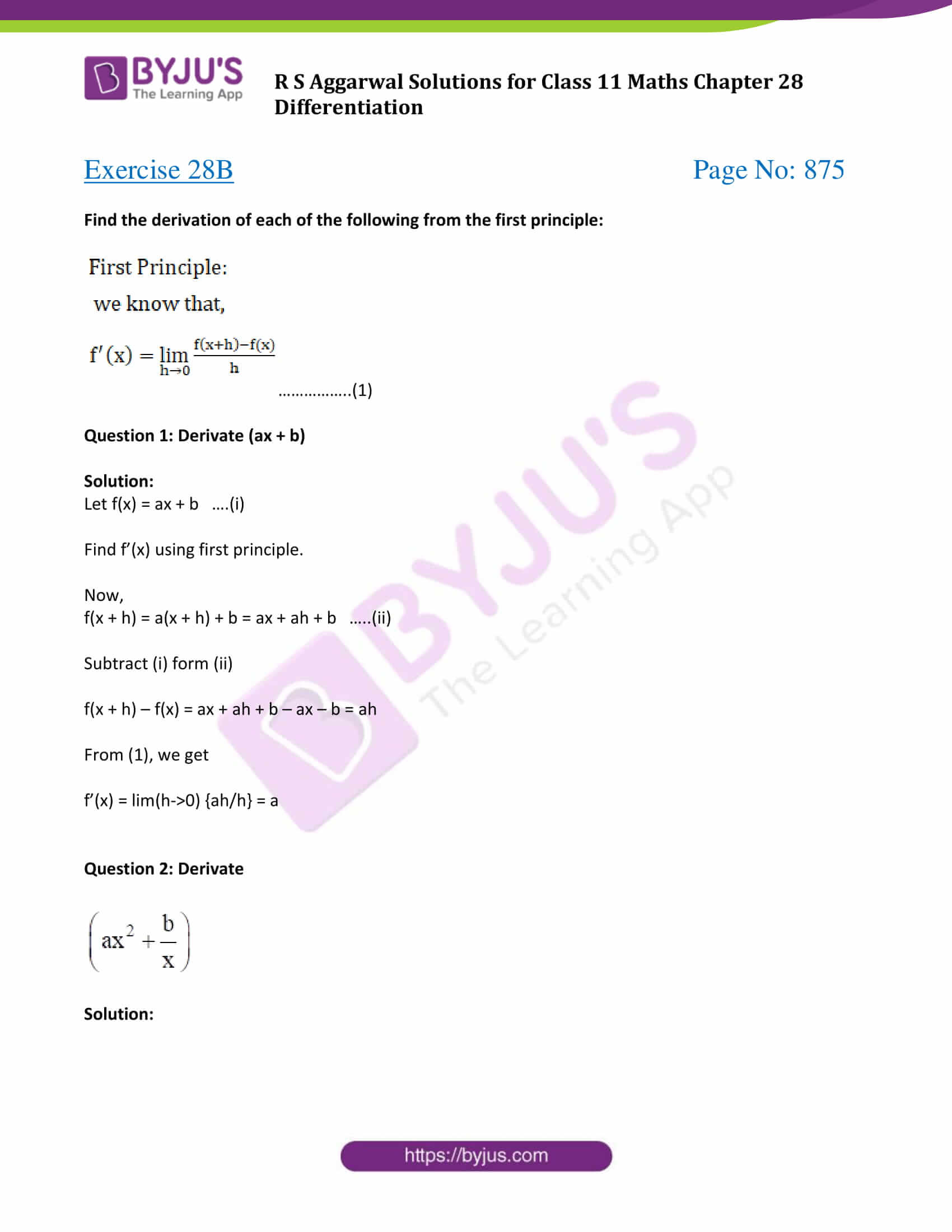 rs aggarwal solution class 11 maths chapter 28 ex b