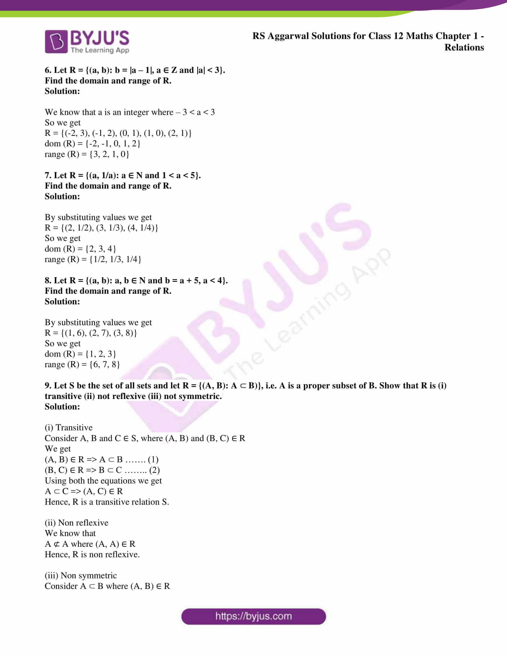 rs aggarwal solution class 12 maths chapter 1 ex 1a