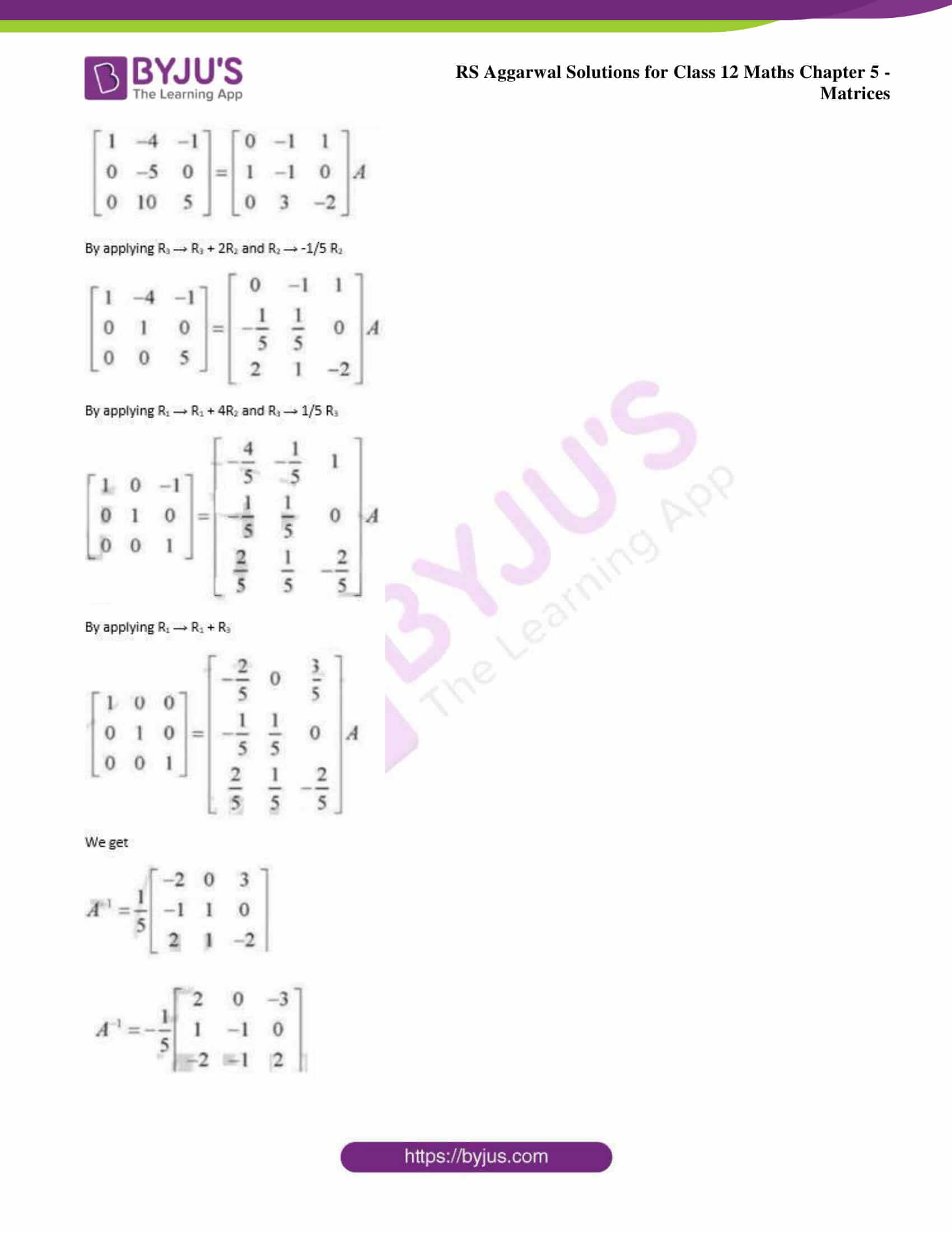 RS Aggarwal Solutions for Class 12 Chapter 5 Matrices ...