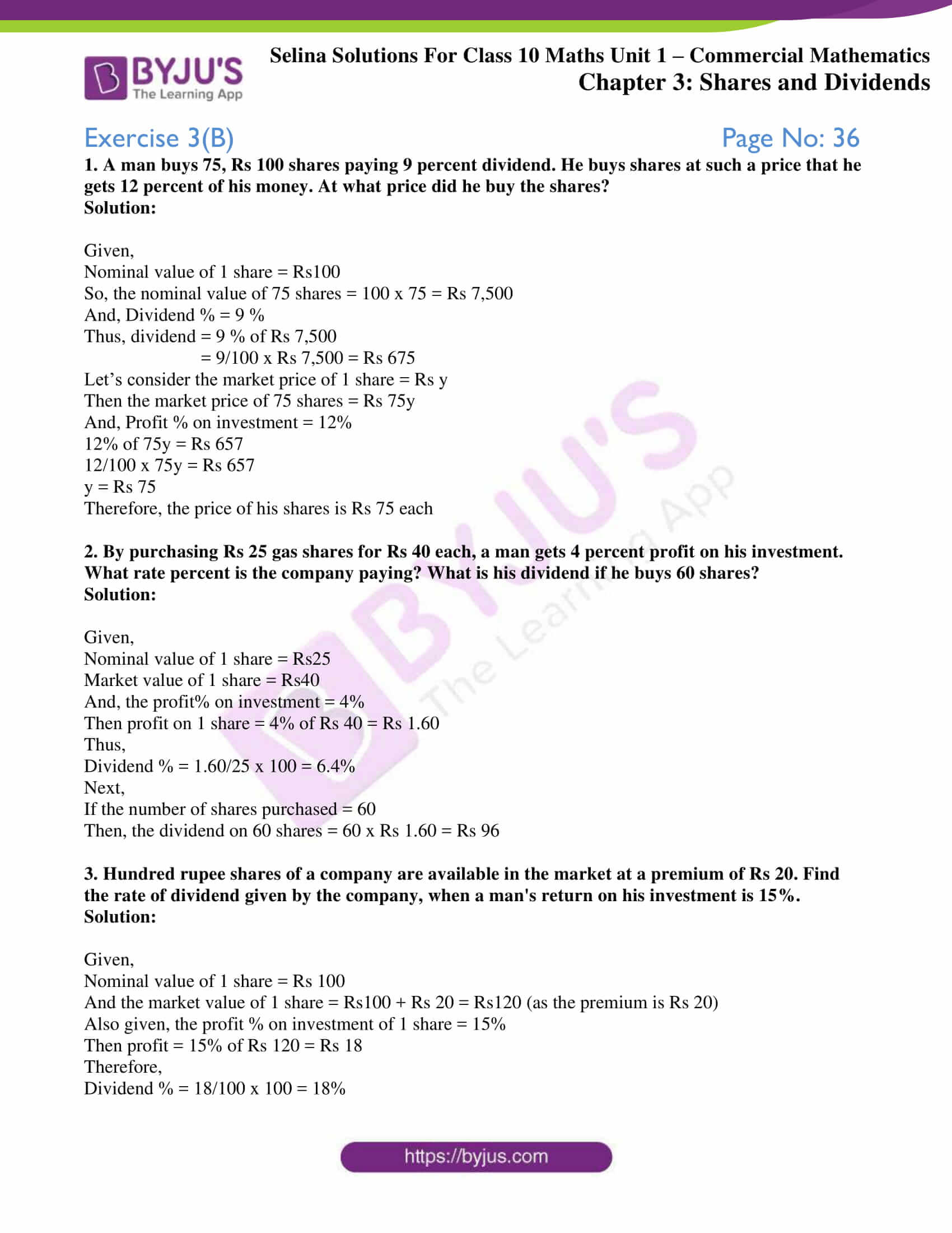 selina solution concise maths class 10 chapter 3b