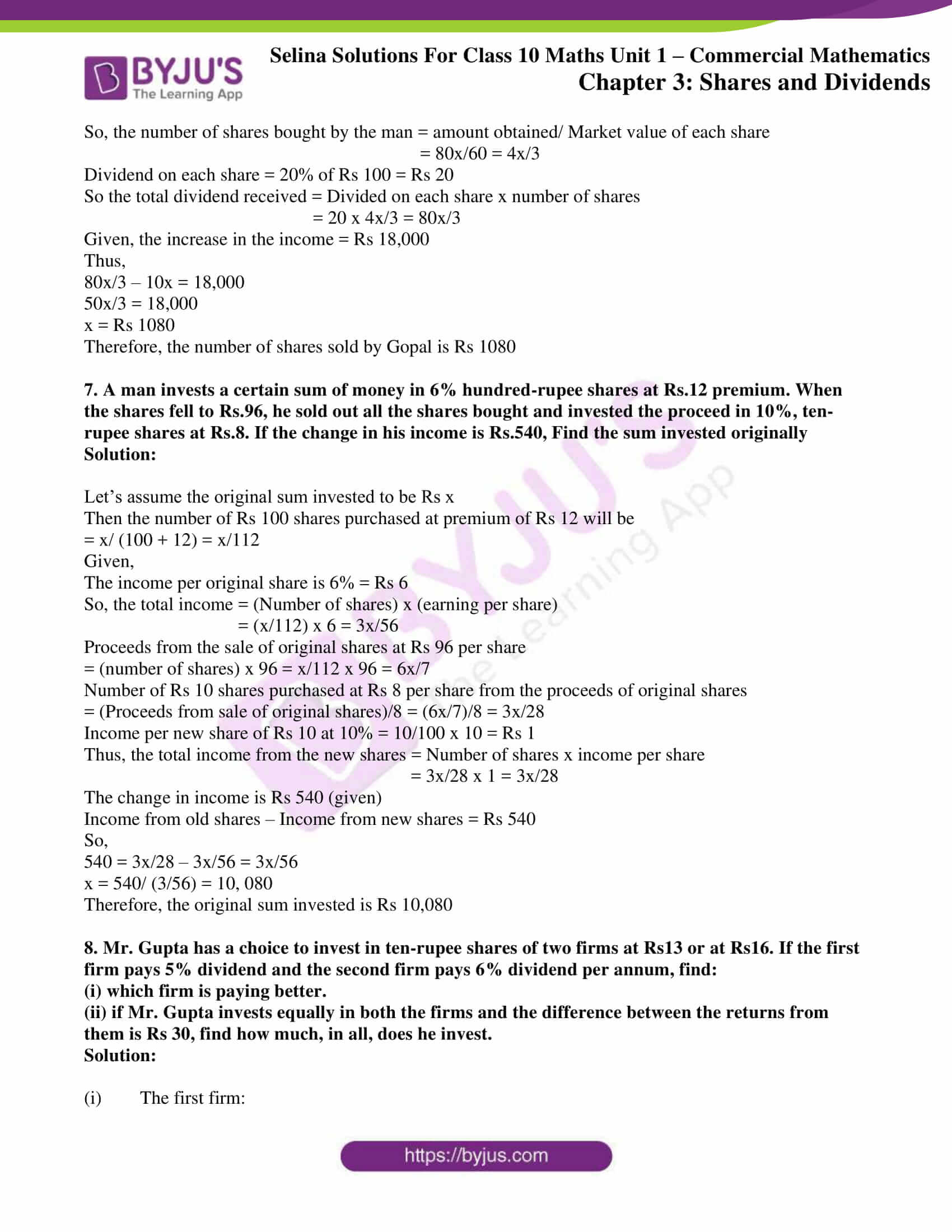 selina solution concise maths class 10 chapter 3c