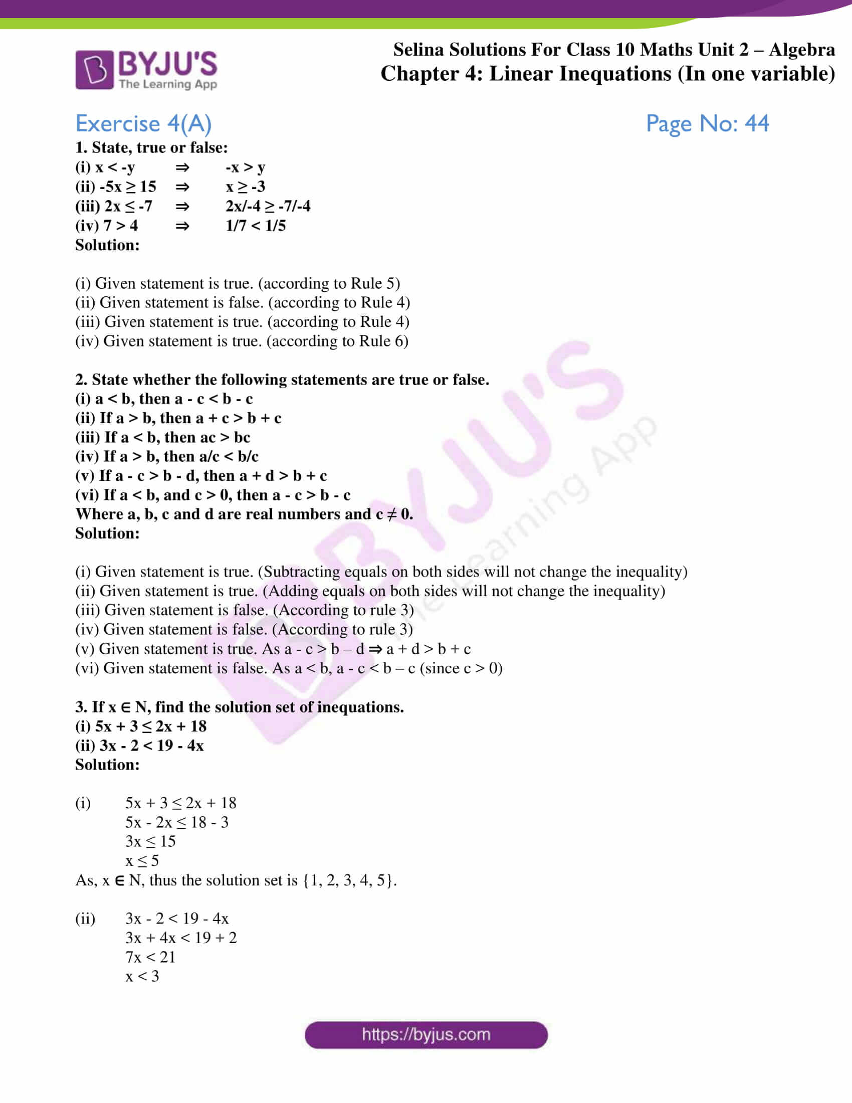 selina solution concise maths class 10 chapter 4a