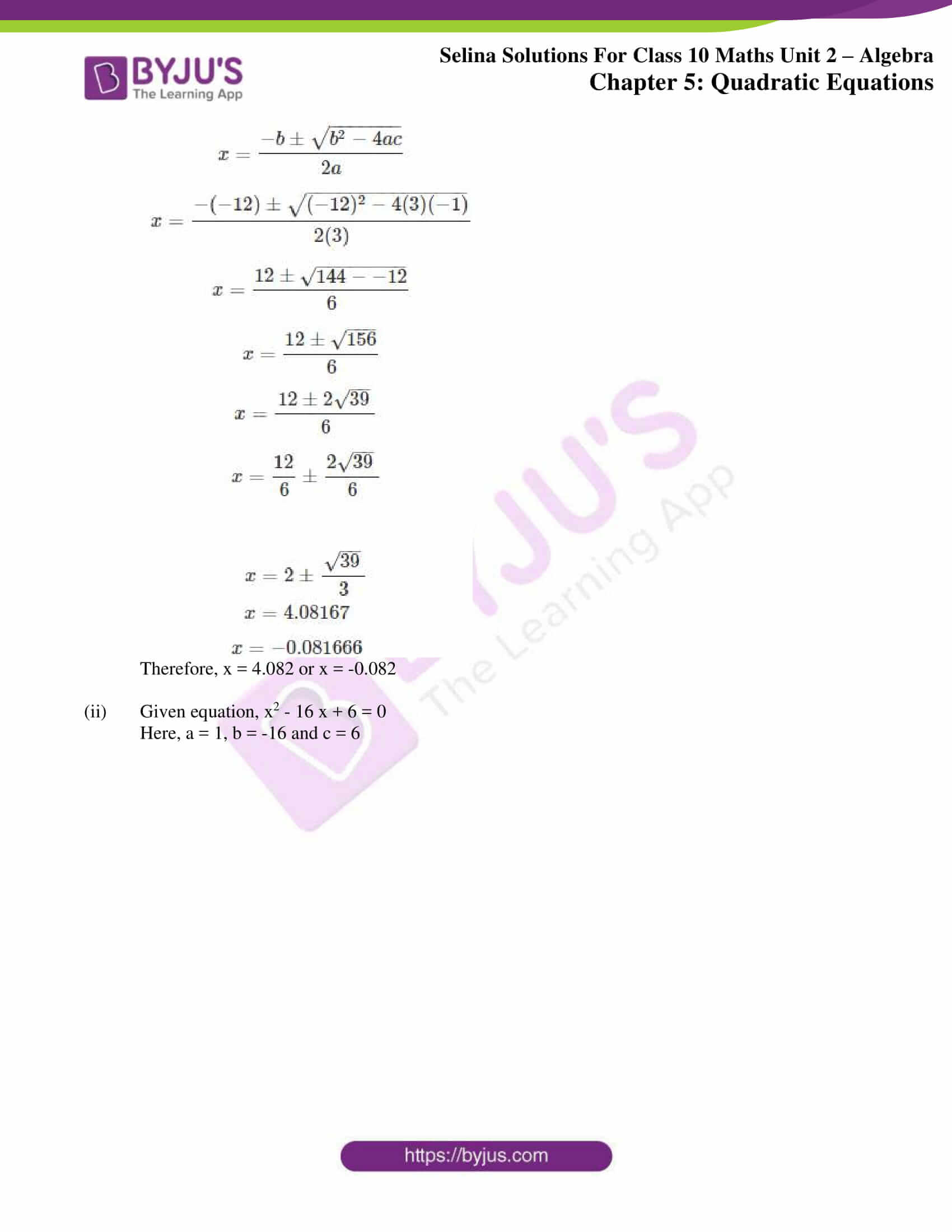 selina solution concise maths class 10 chapter 5