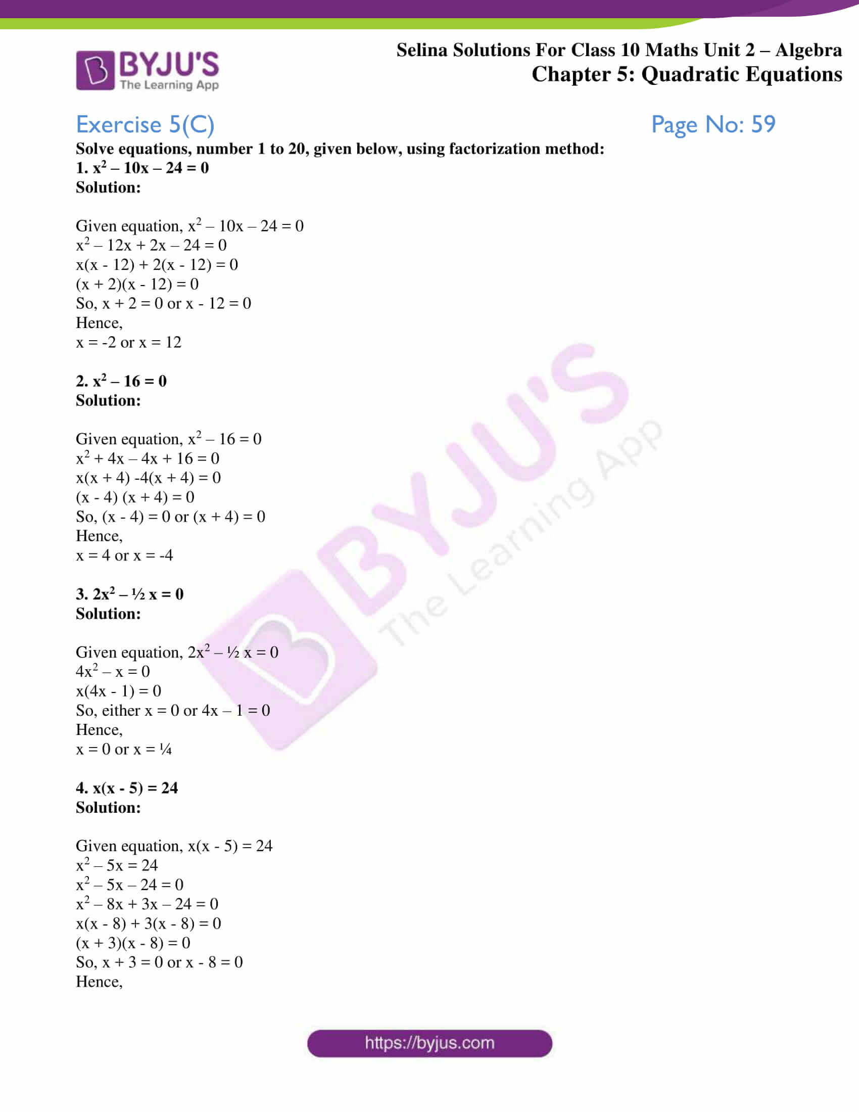 selina solution concise maths class 10 chapter 5c