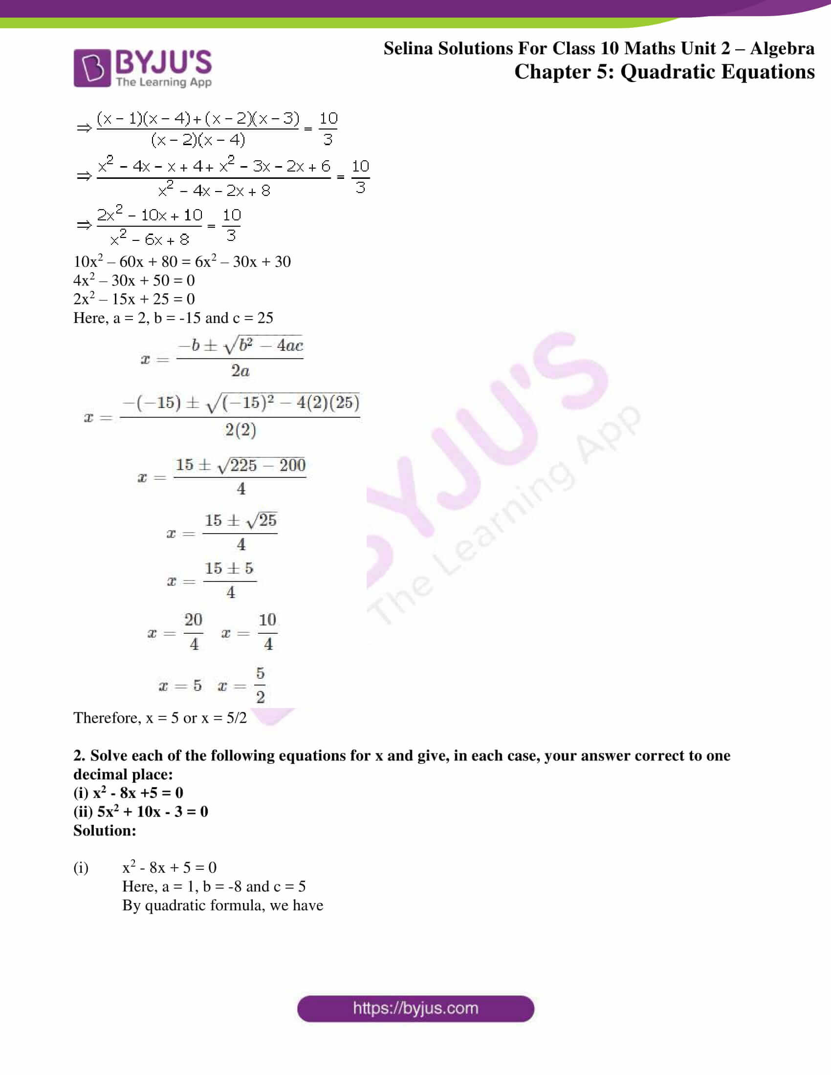 selina solution concise maths class 10 chapter 5d