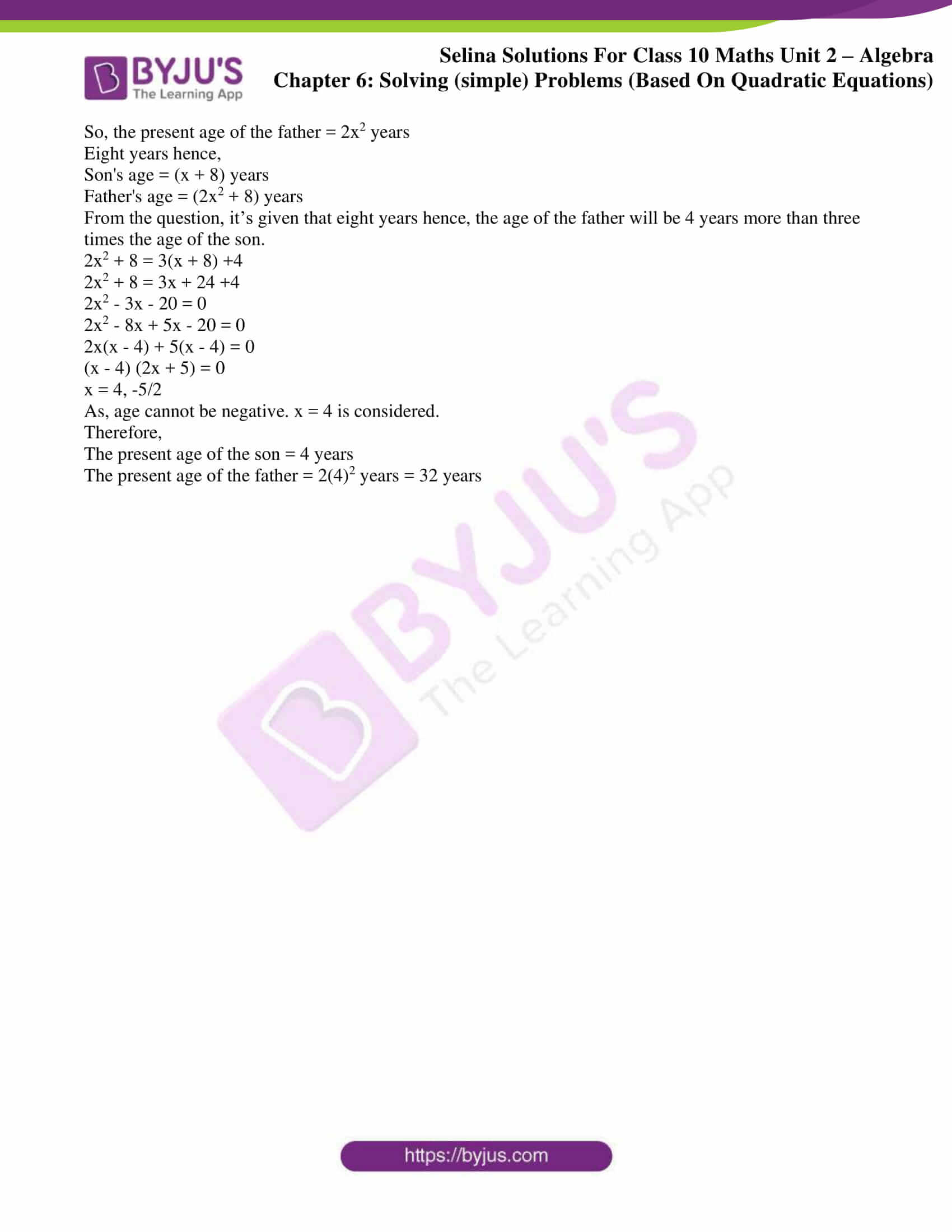 selina solution concise maths class 10 chapter 6