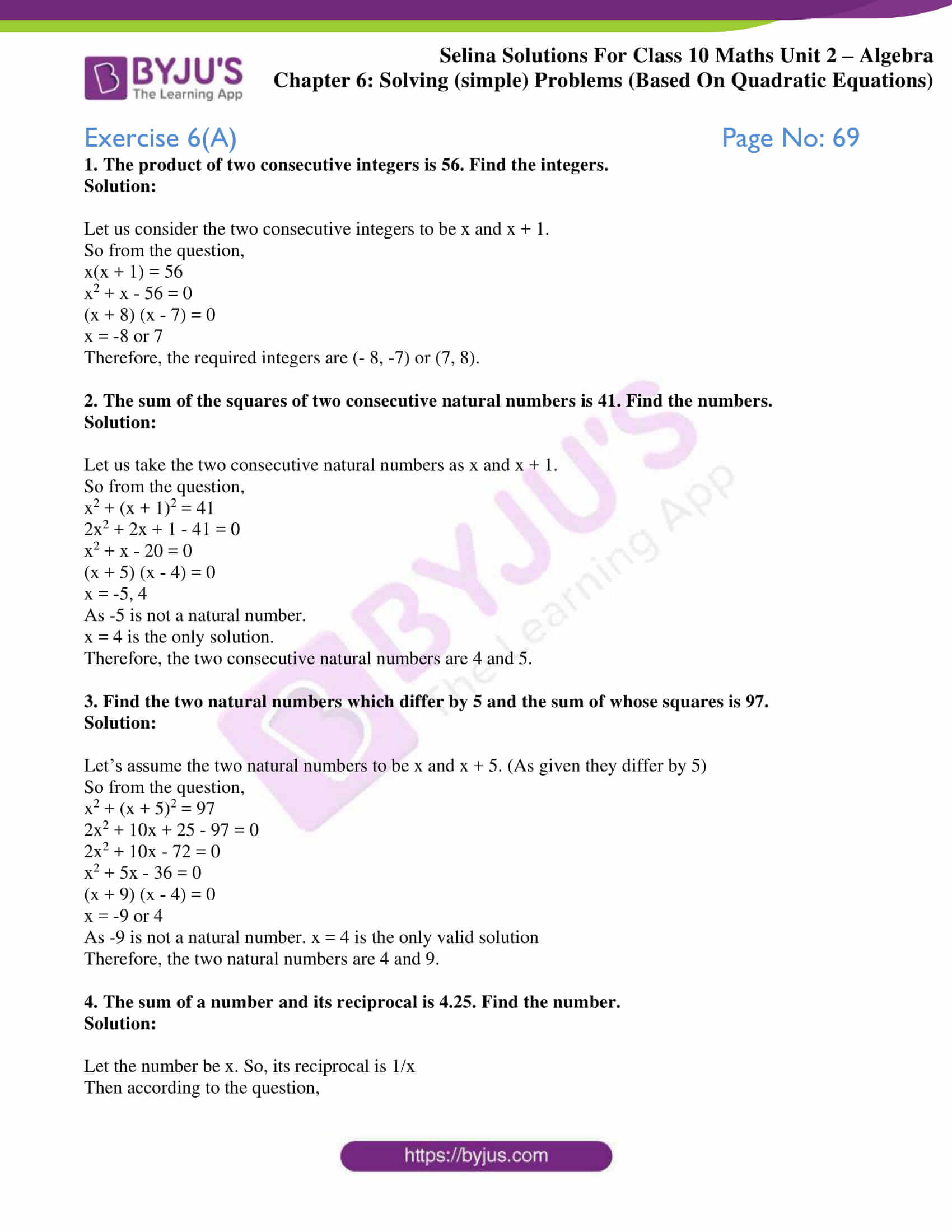 selina solution concise maths class 10 chapter 6a