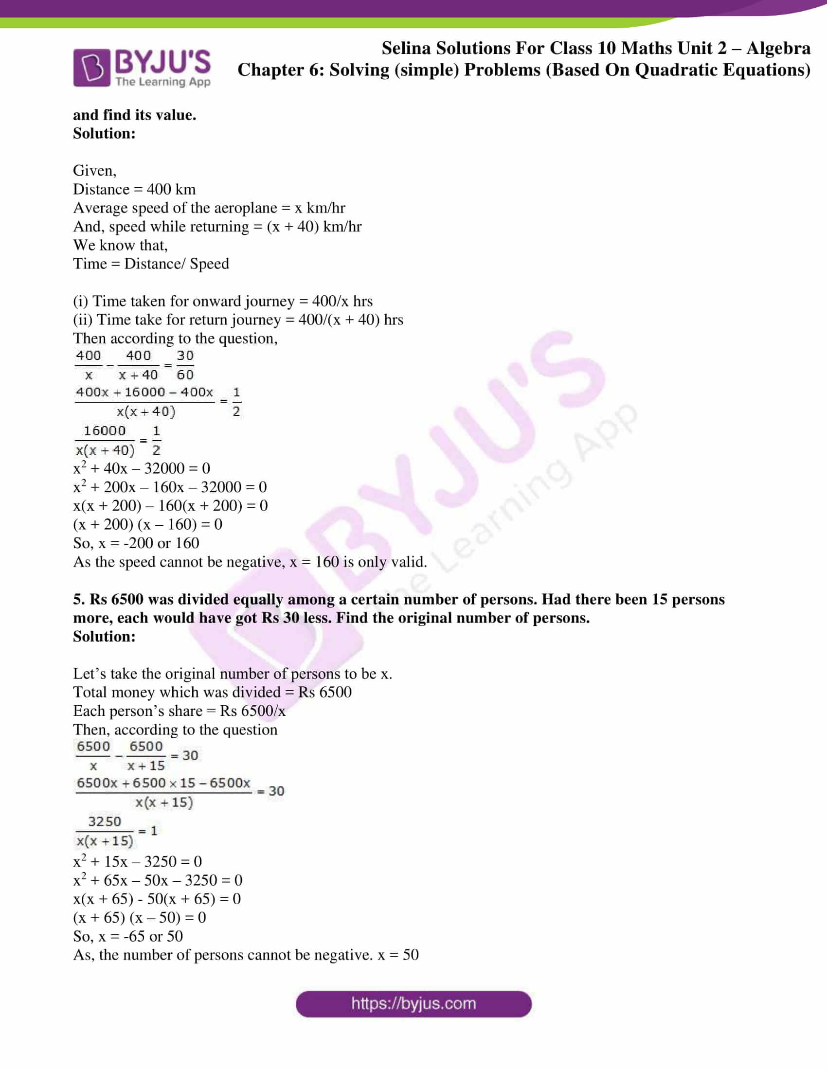 selina solution concise maths class 10 chapter 6e