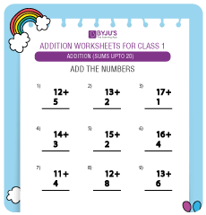 Single Digit Addition Worksheet (Sums up to 20)