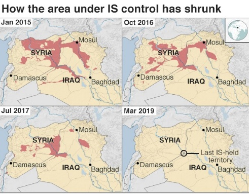 How the area under IS control has shrunk Map
