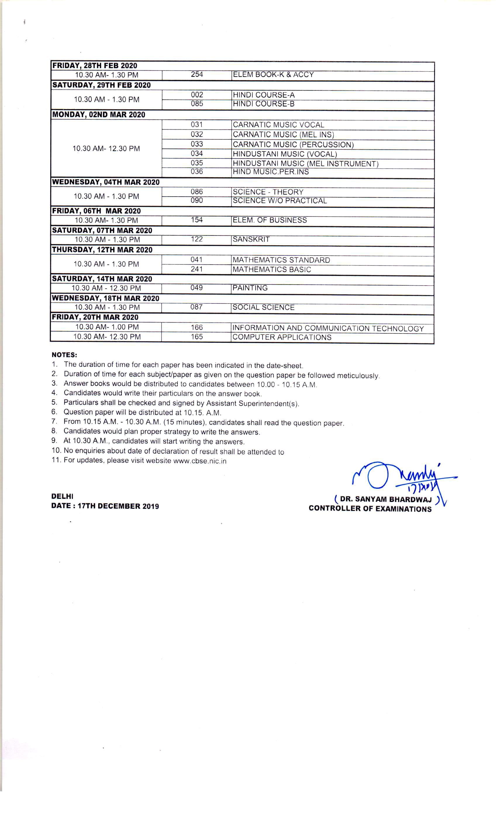 CBSE 10th Class Date Sheet