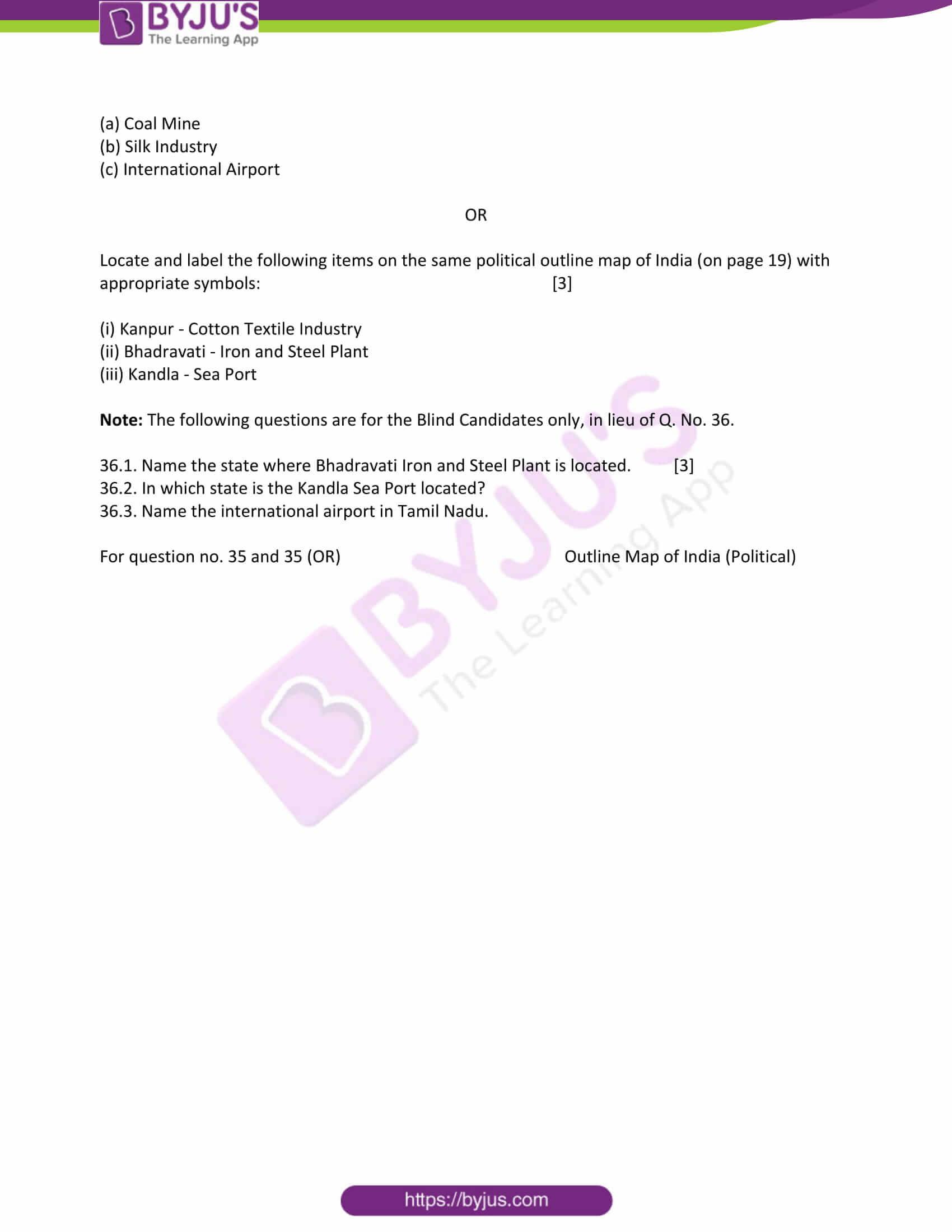cbse class 10 ss qn paper 2011 set 1