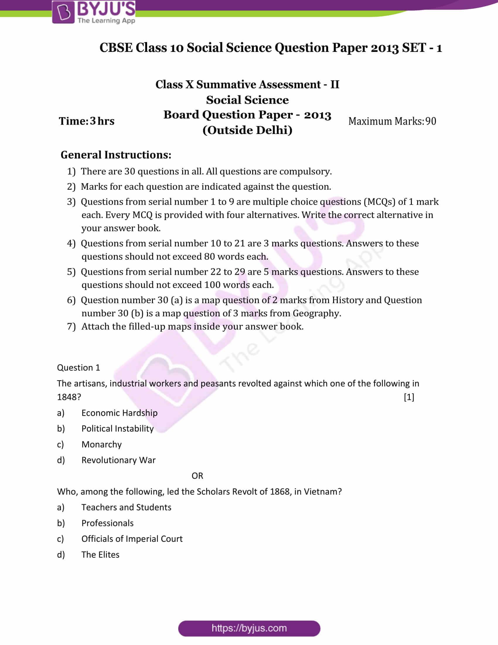 cbse class 10 ss qn paper 2013 set 1