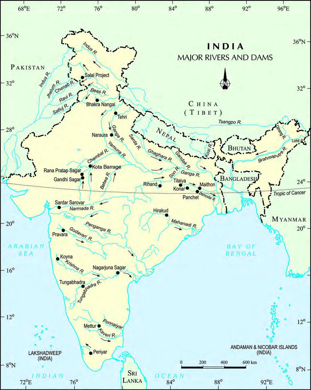 India Major Rivers and Dams