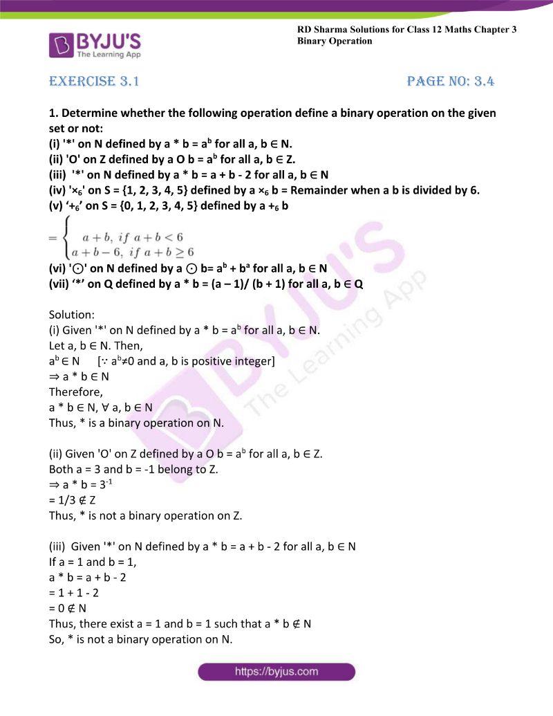 rd sharma class 12 maths chp 3 ex 1