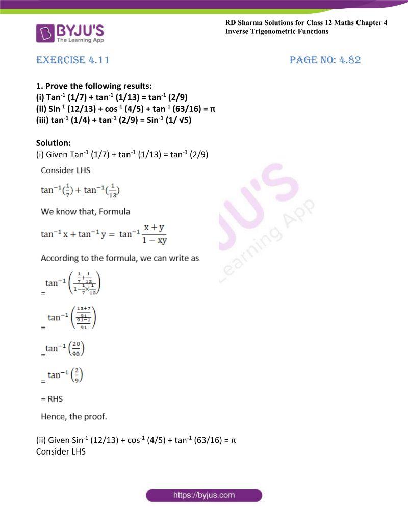 rd sharma class 12 maths chp 4 ex 11