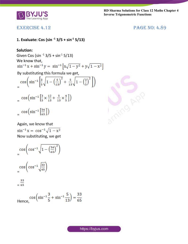 rd sharma class 12 maths chp 4 ex 12