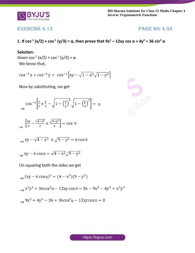 rd sharma class 12 maths chp 4 ex 13