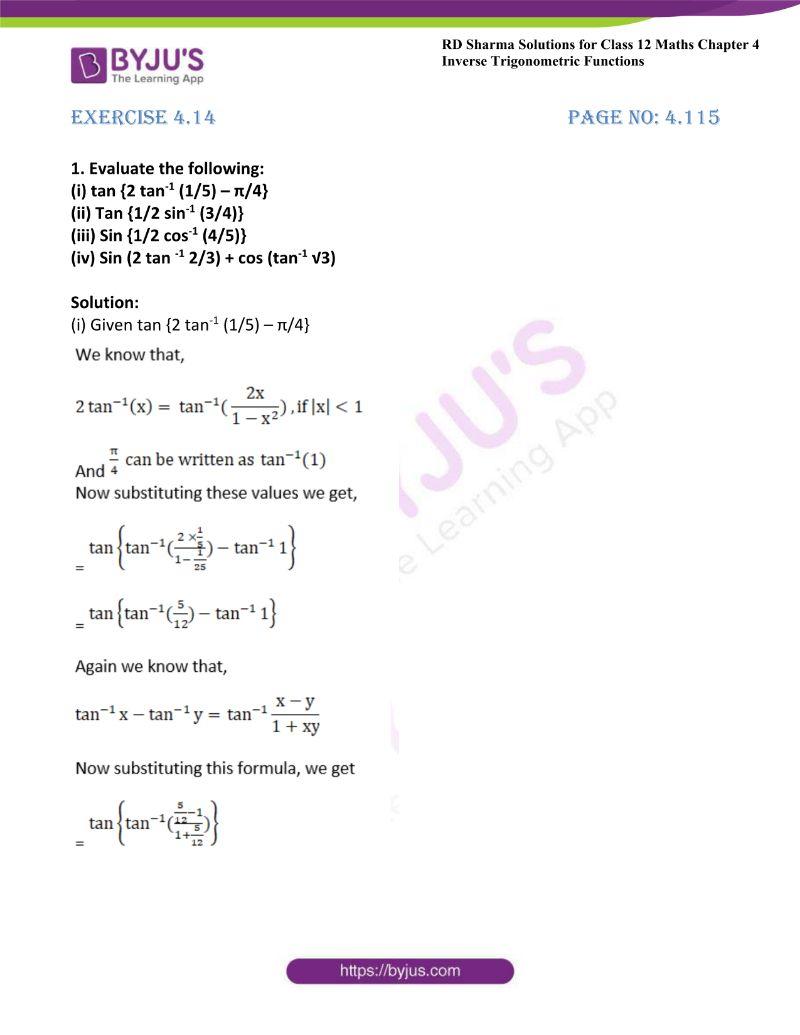 rd sharma class 12 maths chp 4 ex 14