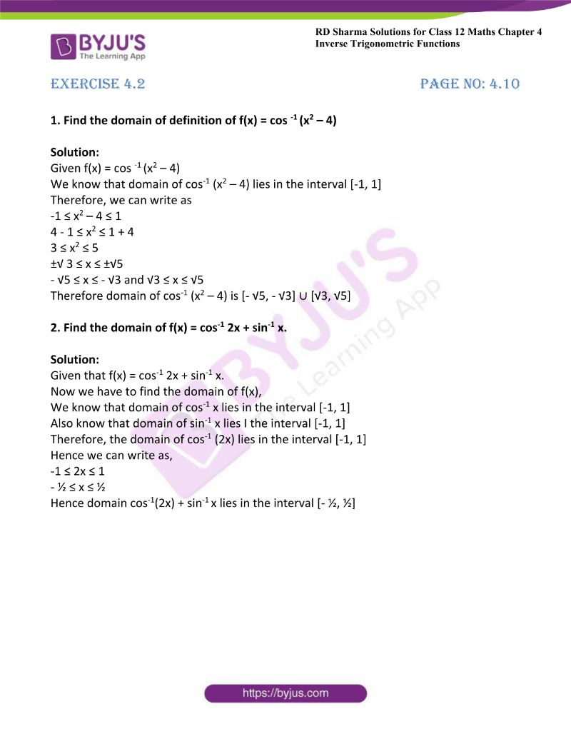 rd sharma class 12 maths chp 4 ex 2