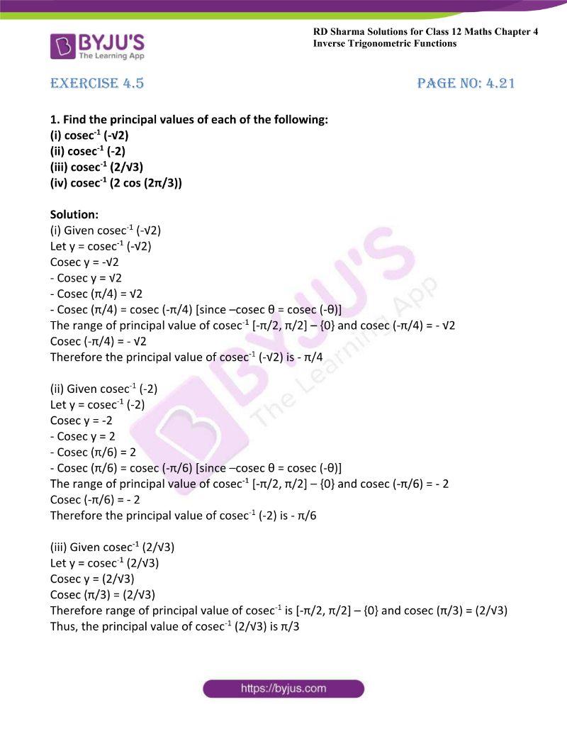 rd sharma class 12 maths chp 4 ex 5