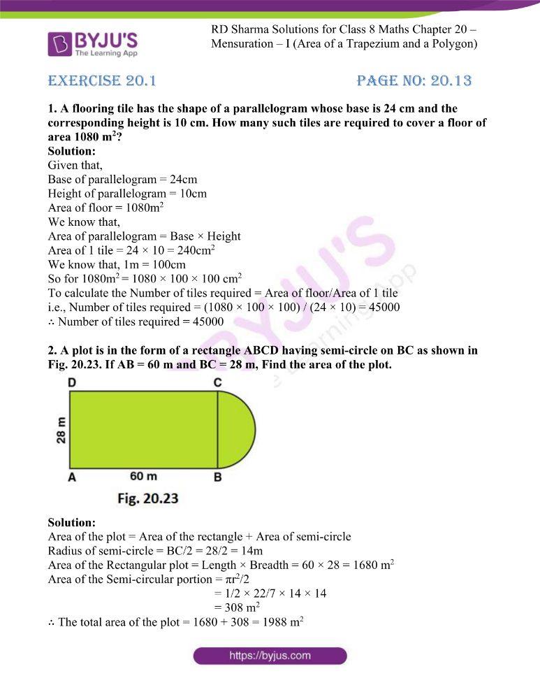 rd sharma class 8 maths chapter 20 ex 1