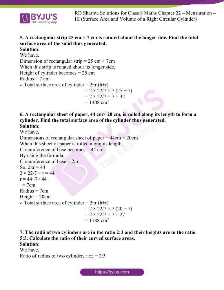rd sharma class 8 maths chapter 22 ex 1