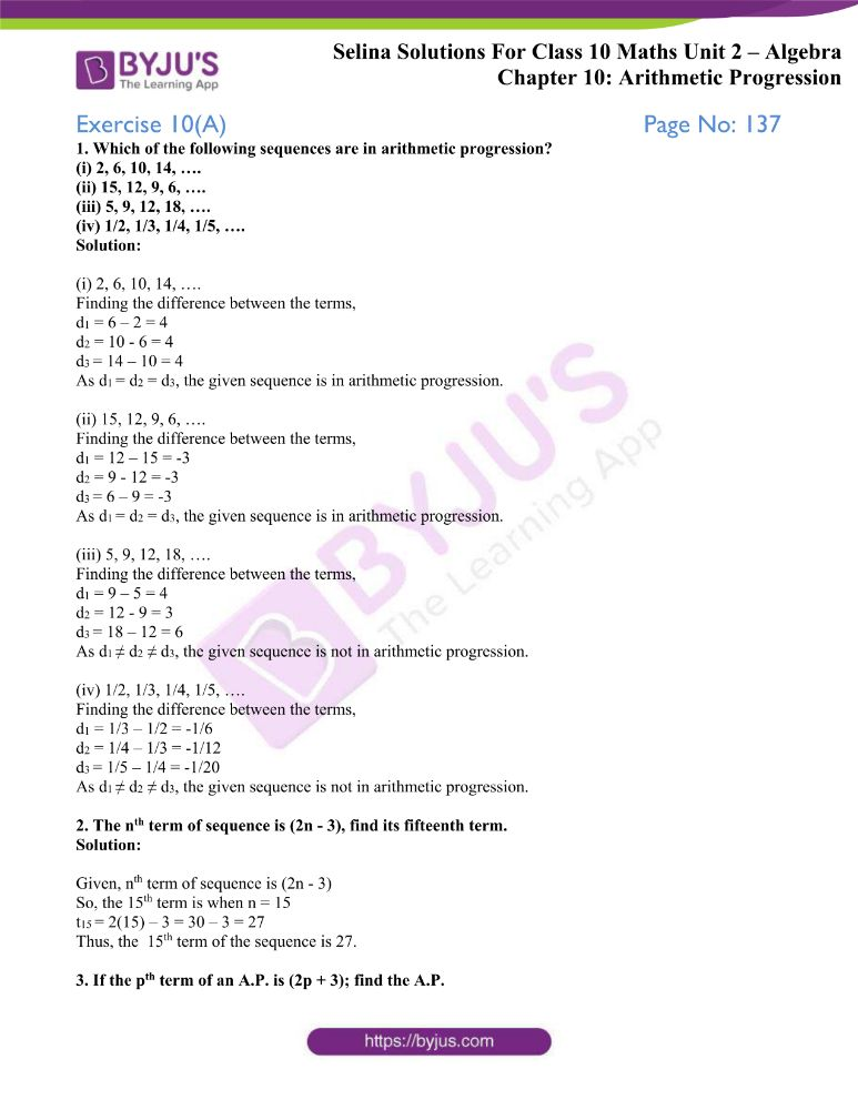 selina solutions concise maths class 10 chapter 10a