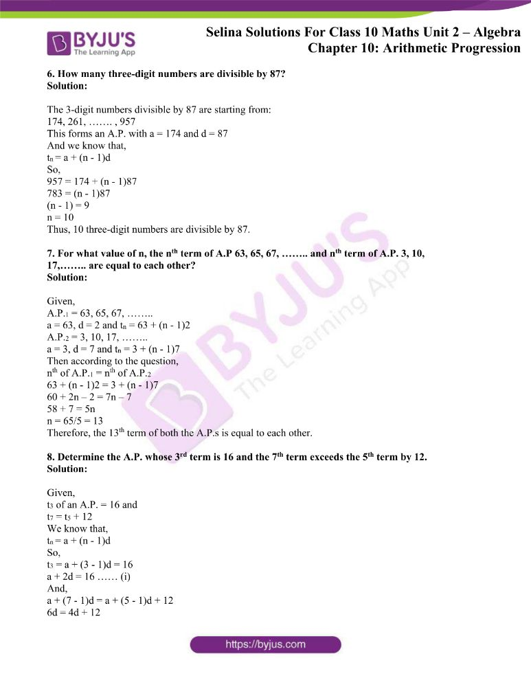 selina solutions concise maths class 10 chapter 10b