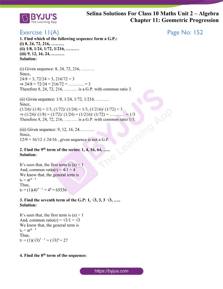 selina solutions concise maths class 10 chapter 11a