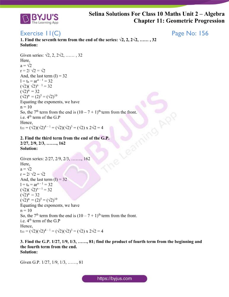 selina solutions concise maths class 10 chapter 11c