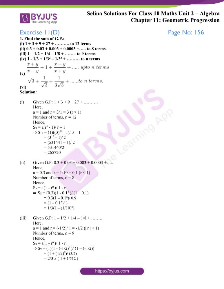 selina solutions concise maths class 10 chapter 11d