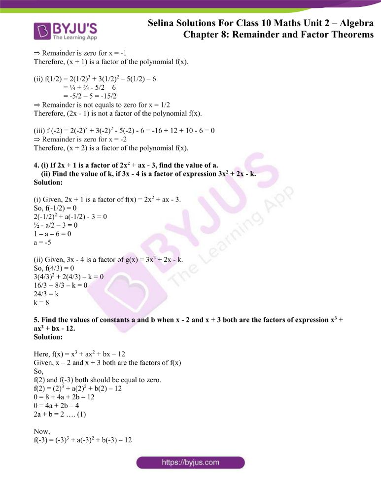 selina solutions concise maths class 10 chapter 8a