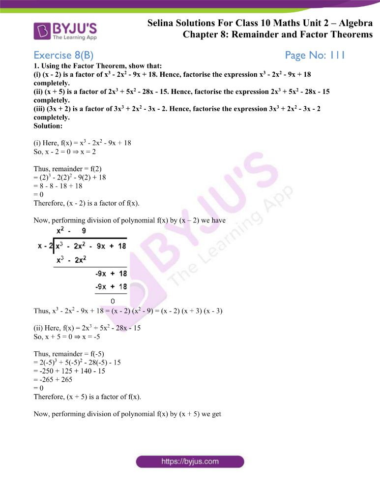 selina solutions concise maths class 10 chapter 8b