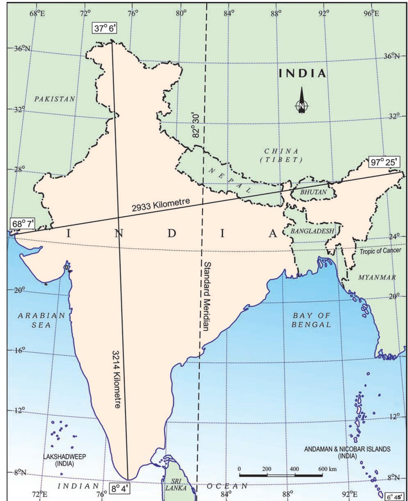 India Extent and Standard Meridian