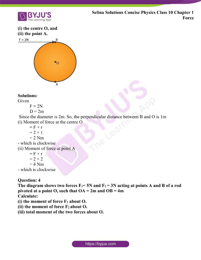 Selina Solutions Concise Physics Class 10 Chapter 1 Force 10