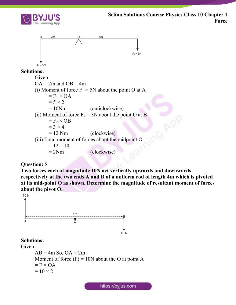Selina Solutions Concise Physics Class 10 Chapter 1 Force 11