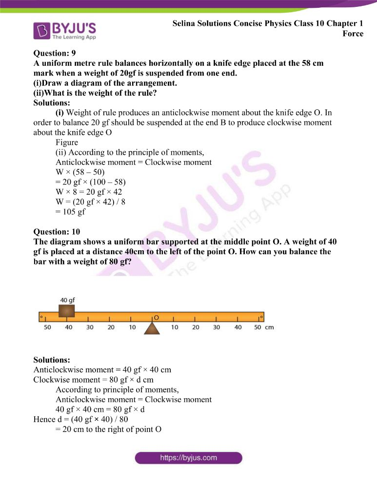 Selina Solutions Concise Physics Class 10 Chapter 1 Force 14