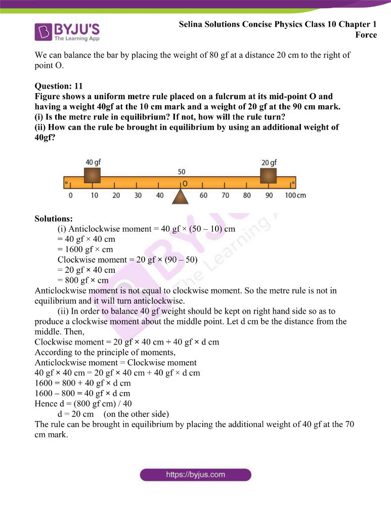 Selina Solutions Concise Physics Class 10 Chapter 1 Force 15