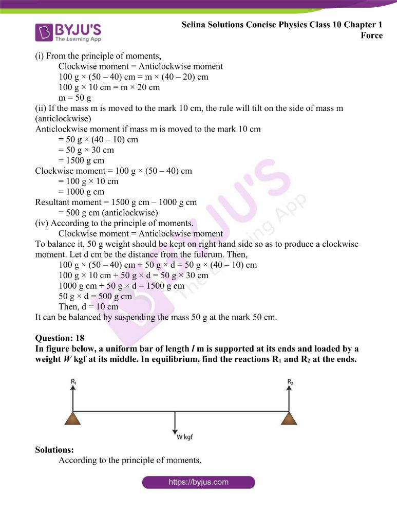 Selina Solutions Concise Physics Class 10 Chapter 1 Force 19