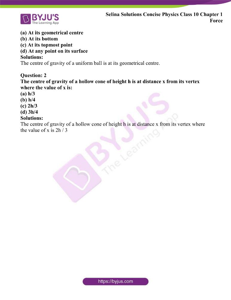 Selina Solutions Concise Physics Class 10 Chapter 1 Force 25